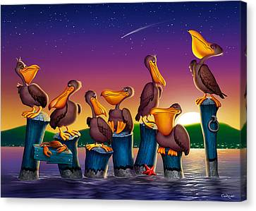 Pelican Sunset Blank Greeting Card Canvas Print by Walt Curlee