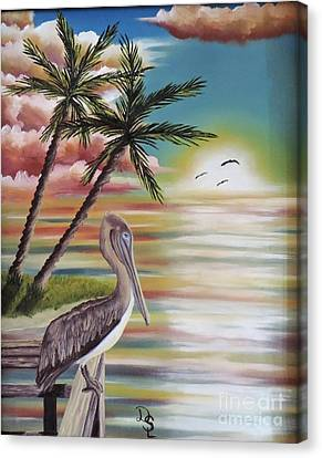 Canvas Print featuring the painting Pelican Sunset by Dianna Lewis