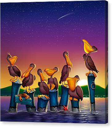 Pelican Sunset Whimsical Cartoon -  Square Format Canvas Print by Walt Curlee