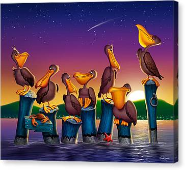 Pelican Sunset Whimsical Cartoon Tropical Birds Seascape Print Blue Orange Purple Yellow Canvas Print by Walt Curlee