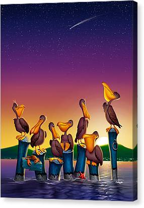 Pelican Sunset Whimsical Cartoon Tropical Birds Seascape - Vertical Canvas Print by Walt Curlee