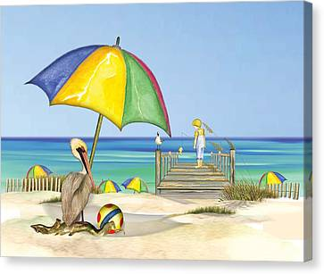 Pelican Under Umbrella Canvas Print by Anne Beverley-Stamps