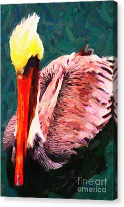 Pelican Wading In Water Canvas Print by Wingsdomain Art and Photography