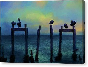 Canvas Print featuring the photograph Pelicans At Sunset by Jan Amiss Photography