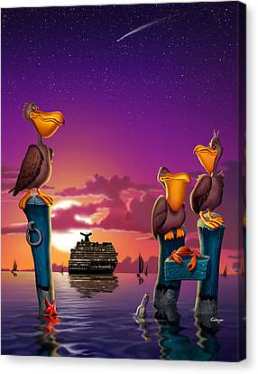 Pelicans On Poles At Sunset Tropical Cartoon Florida Seascape - Vertical Canvas Print by Walt Curlee