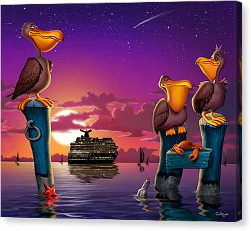Pelicans On Poles At Sunset Tropical Cartoon Florida Seascape Canvas Print by Walt Curlee