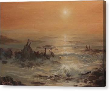 Pelicans Canvas Print by Tom Shropshire