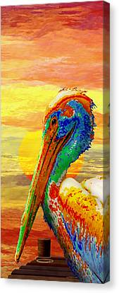 Pelicans Wharf Tequila Sunset Canvas Print by Wally Boggus