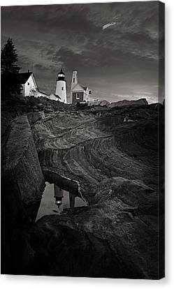 Pemaquid Lighthouse At Dawn Black And White Canvas Print