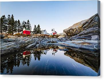 Canvas Print featuring the photograph Pemaquid Point Light Reflection by Robert Clifford