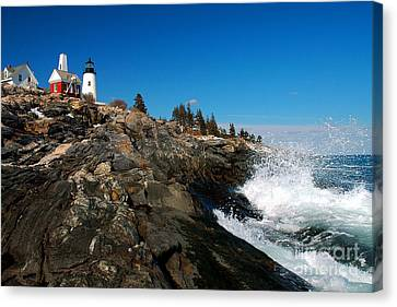 Pemaquid Point Lighthouse - Seascape Landscape Rocky Coast Maine Canvas Print by Jon Holiday