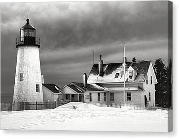 Pemaquid Point Lighthouse And Museum In Winter Monochrome  Canvas Print by Olivier Le Queinec