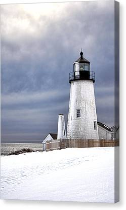 Pemaquid Point Lighthouse In Winter Canvas Print by Olivier Le Queinec