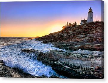 Rocky Maine Coast Canvas Print - Pemaquid Point Sunset by Olivier Le Queinec