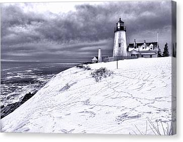Pemaquid Point Winter Scene Canvas Print by Olivier Le Queinec