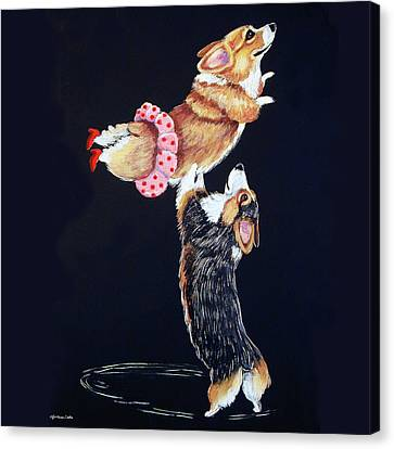 Pembroke Welsh Corgi Her Red Shoes Canvas Print by Lyn Cook