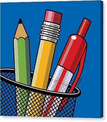 Canvas Print featuring the digital art Pen And Pencils by Ron Magnes