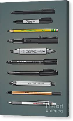 Pen Collection For Sketching And Drawing II Canvas Print by Monkey Crisis On Mars