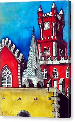 Canvas Print featuring the painting Pena Palace In Portugal by Dora Hathazi Mendes