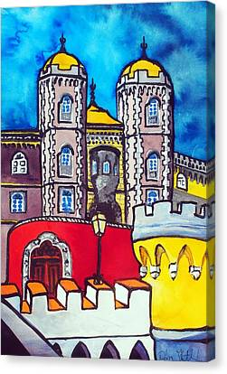 Canvas Print featuring the painting Pena Palace In Sintra Portugal  by Dora Hathazi Mendes