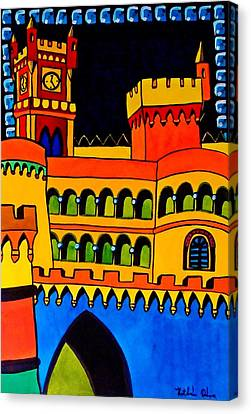 Canvas Print featuring the painting Pena Palace Portugal by Dora Hathazi Mendes