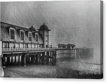 Penarth Pier Mono Canvas Print by Steve Purnell