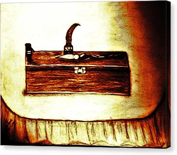 Pencil Box And Ink Well Canvas Print by Debra Lynch