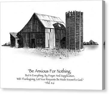 Pencil Drawing Of Old Barn With Bible Verse Canvas Print by Joyce Geleynse