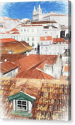 Pencil Drawing Of The Alfama District In Lisbon Canvas Print by Jose Elias - Sofia Pereira