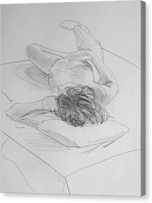 Laying On Stomach Canvas Print - Pencil Female Nude Lying On Back  by Mike Jory