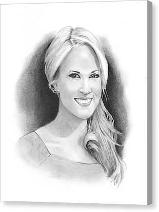 Pencil Portrait Of Carrie Underwood Canvas Print by Joyce Geleynse