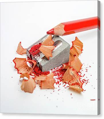 Pencil Sharpener And Red Colour Pencil. Canvas Print