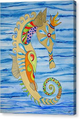 Canvas Print featuring the painting Penelope The Seahorse by Erika Swartzkopf