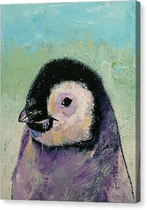 Penguin Chick Canvas Print by Michael Creese