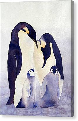 Canvas Print featuring the painting Penguin Family by Laurel Best