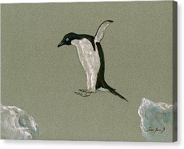 Sea Birds Canvas Print - Penguin Jumping by Juan  Bosco
