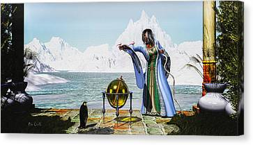 Penguin Magic And The Winter Witch Canvas Print by Bob Orsillo