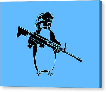 Penguin Soldier Canvas Print by Pixel Chimp