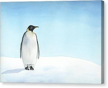 Canvas Print featuring the painting Penguin Watercolor by Taylan Apukovska