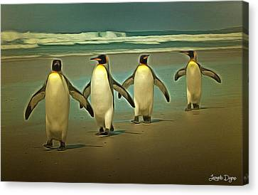 Squid Canvas Print - Penguins In The Beach - Da by Leonardo Digenio