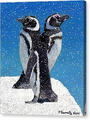 Penguins In The Snow Canvas Print by Patricia Barmatz