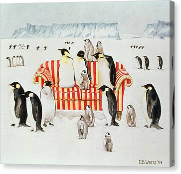 Penguins On A Red And White Sofa  Canvas Print