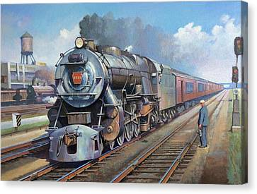 Canvas Print featuring the painting Penn Central Pacific. by Mike Jeffries