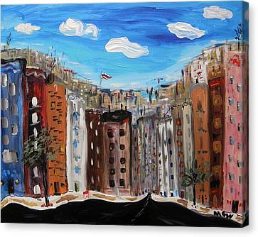 Pennant Over The City Canvas Print by Mary Carol Williams