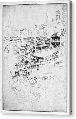 Canvas Print featuring the drawing Pennell Polo Grounds 1921 by Granger