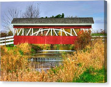 Pennsylvania Country Roads - Oregon Dairy Covered Bridge Over Shirks Run - Lancaster County Canvas Print by Michael Mazaika