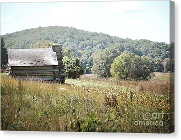 Pennsylvania Log Cabin Field Landscape Canvas Print by Andrea Hazel Ihlefeld