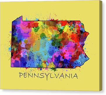 Northeastern Canvas Print - Pennsylvania Map Color Splatter 4 by Bekim Art