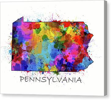 Northeastern Canvas Print - Pennsylvania Map Color Splatter by Bekim Art