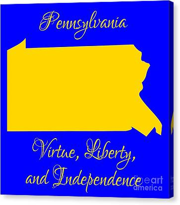 Pennsylvania Map In State Colors Blue And Gold With State Motto Virtue Liberty And Independence Canvas Print by Rose Santuci-Sofranko